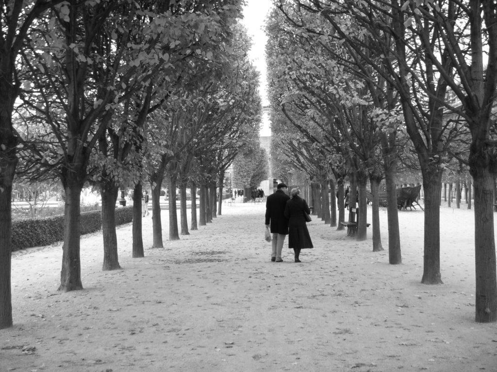 Pár v pařížské aleji