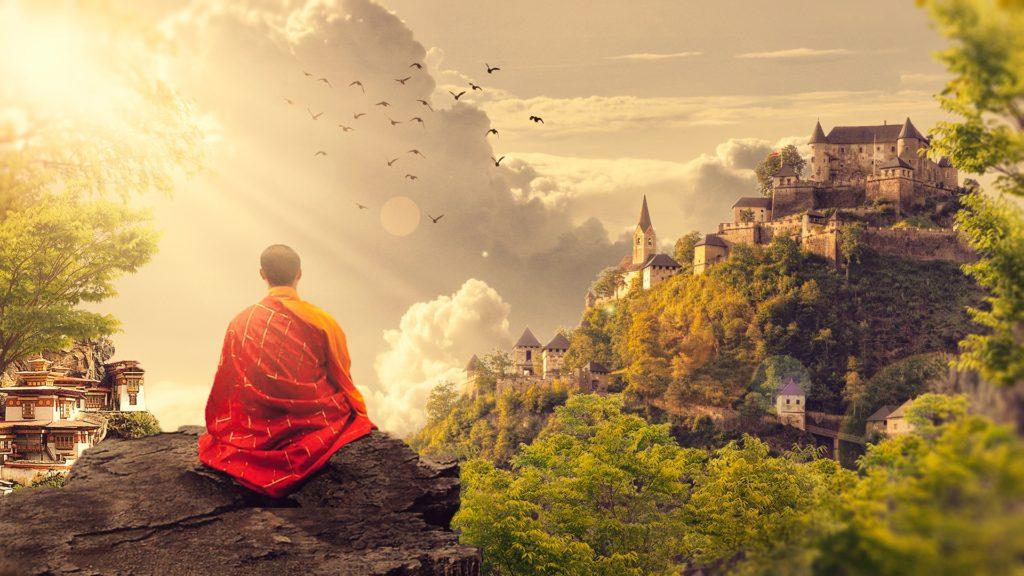 Meditující buddhistický mnich